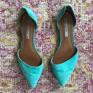 """& other stories"" turquoise suede pointed slip-ons"